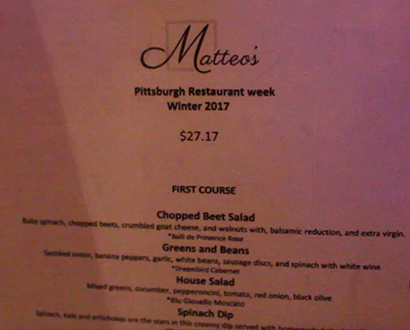 Matteo's Restaurant Week Menu