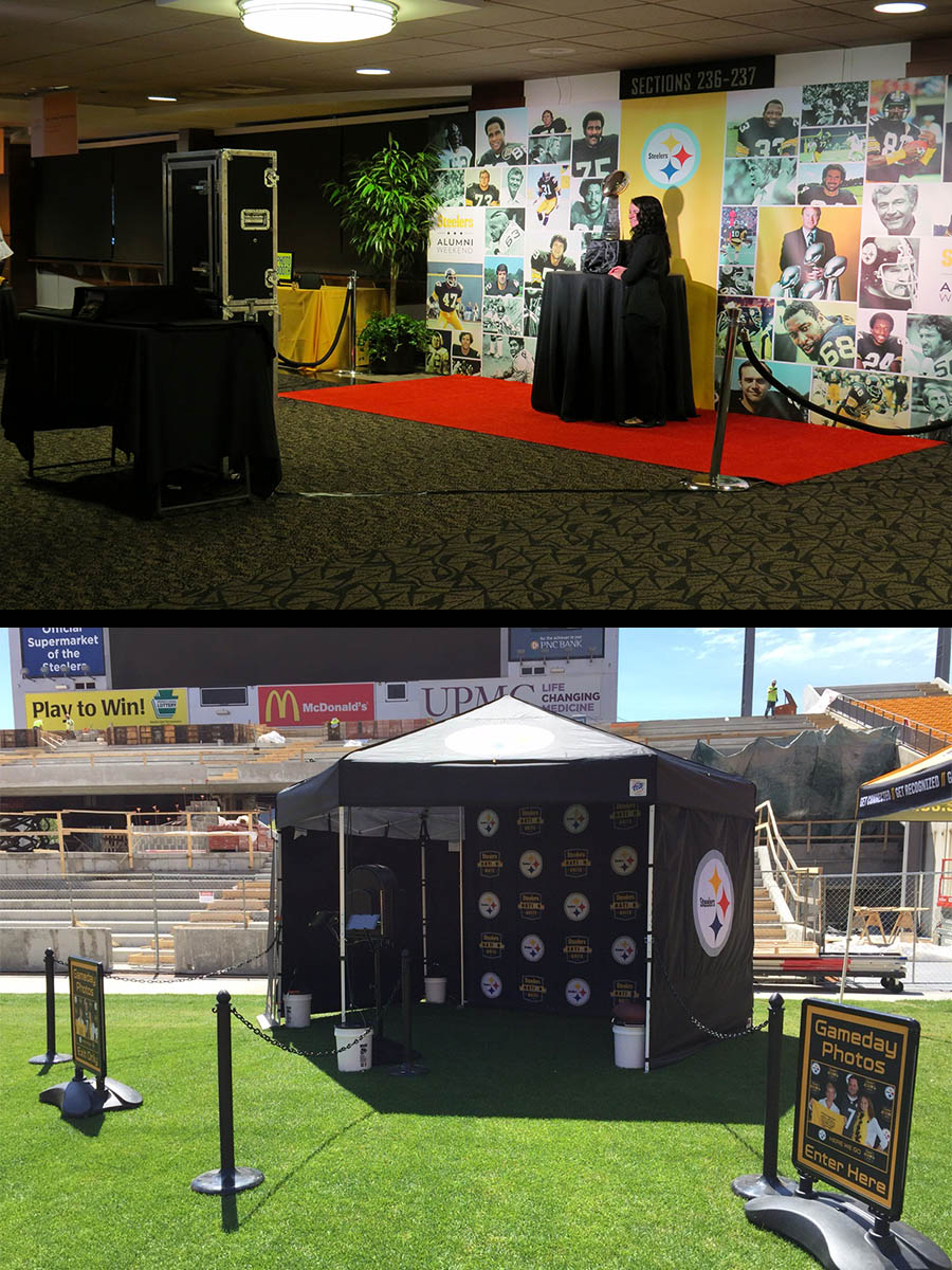 Open air Steelers photo booth